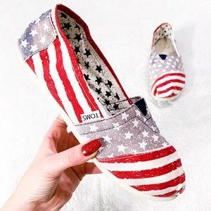 TOMS AMERICAN FLAG RED WHITE BLUE SLIP ON